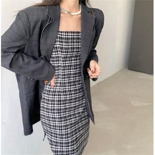 Plain Loose-fit Blazer / Plaid Slim-fit Sleeveless Dress / Sheer Tights