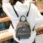 Studded Plaid Mini Backpack