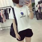 Dog Embroidered Short-sleeve T-shirt