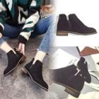 Block-heel Paneled Ankle Boots