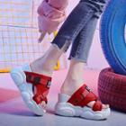 Mesh Panel Peep Toe Buckled Wedge Platform Sandals