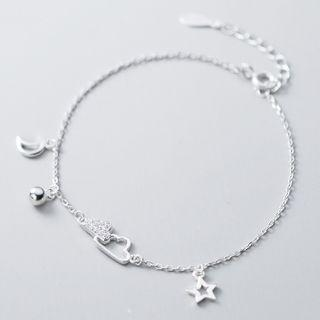 925 Sterling Silver Rhinestone Cloud Moon & Star Bracelet 925 Sterling Silver - Bracelet - One Size