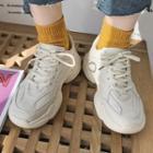 Plain Lace-up Classic Platform Sneakers