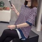 Short-sleeve Striped Mock Two-piece T-shirt