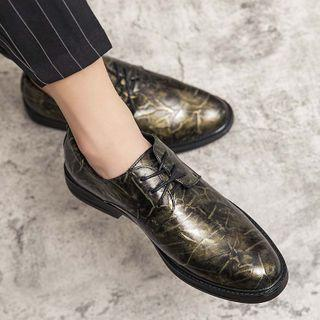 Printed Faux-leather Lace-up Dress Shoes