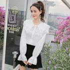 Lace Trim Bell Sleeve Blouse