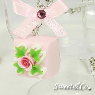 Sweet Pink Rose Chocolate Ribbon Necklace
