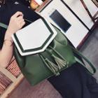 Color Panel Tasseled Backpack
