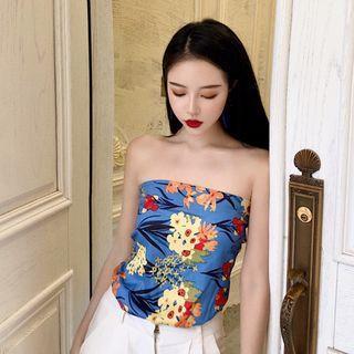 Printed Flower Off Shoulder Vest