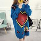 Heart Printed Sweater As Shown In Figure - One Size