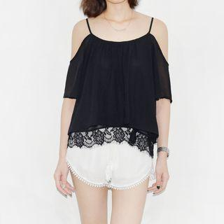 Lace Trim Off Shoulder Elbow Sleeve Top