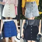 Pocketed Denim Skirt