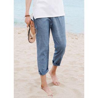 Drawstring-waist Checked Baggy Pants
