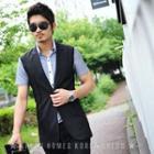 Notched-lapel Long Vest
