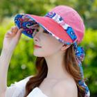 Embroidered Lettering Foldable Wide Brim Cap