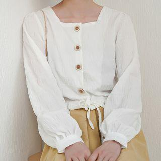Long-sleeve Square Neck Blouse White - One Size