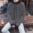 Hooded Stripe Patched Sweater