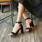 Genuine-leather Chunky Heel Sandals
