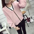 V-neck Puff-sleeve Loose-fit Cardigan