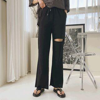 Drawstring-waist Slit-trim Pants