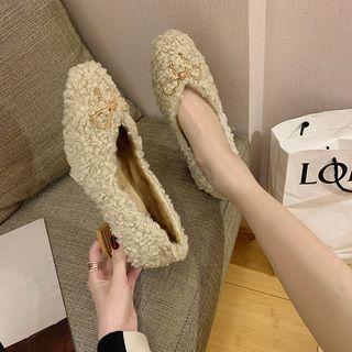 Block-heel Fleece Pumps