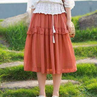 A-line Midi Skirt Rust Red - One Size