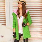 Inset Hood Quilted Coat