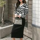 Set: V-neck Knit Top + Midi Pencil Skirt Top - Stripes - One Size / Skirt - Black - One Size