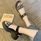Rhinestone Accent Chunky Heel Platform Sandals