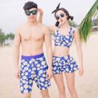 Couple Matching Set: Floral Swim Top + Swim Bottom + Swim Skirt / Floral Swim Shorts