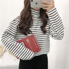 Striped Turtleneck Long-sleeve Loose-fit Top