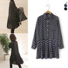 Dotted Long-sleeve Pleated Dress