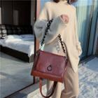 Faux Leather Messenger Shoulder Bag