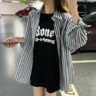 Lettering Short-sleeve T-shirt / Striped Shirt