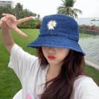 Flower Embroidered Denim Bucket Hat