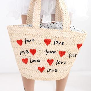 Heart Pattern Straw Tote Black - One Size