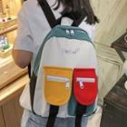 Color Block Nylon Zip Backpack