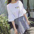 Set: Smiley Face Embroidered Elbow Sleeve T-shirt + Plaid Skirt