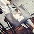 Faux-leather Applique Tote With Pouch