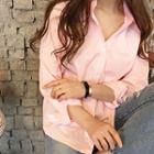 Contrast Wide-cuff Cotton Shirt
