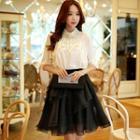 Plain Layered A-line Skirt