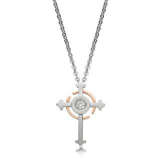 Crystal Cross Pendant With Necklace Rose Gold - One Size