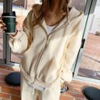 Kangaroo-pocket Zip Hoodie  Cream - One Size