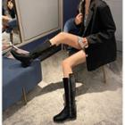 Faux Leather Zipped Tall Boots