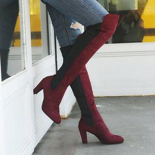 Two-tone Chunky-heel Over-the-knee Boots