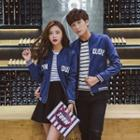 Couple Matching Lettering Zip-up Jacket