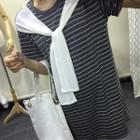 Stripe Short-sleeve Chiffon Dress