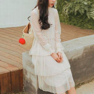 Lace Tiered Long-sleeve Dress