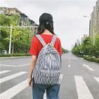 Set: Striped Backpack + Pouch