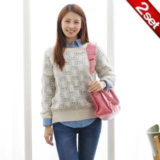Set: Pointelle Knit Top + Tab-sleeve Denim Shirt